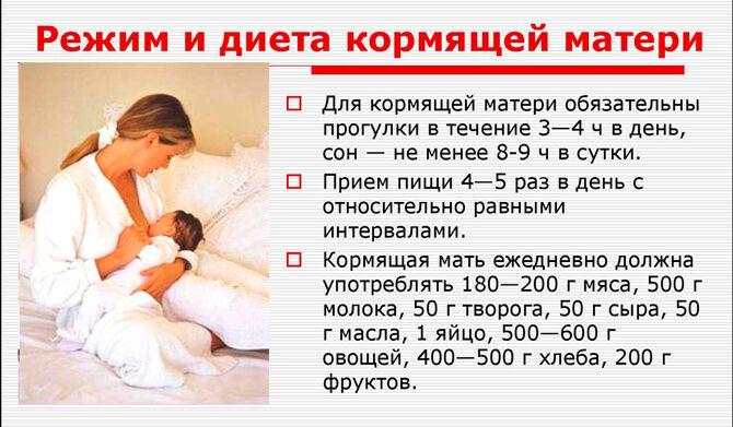 Режим и диета кормящей матери