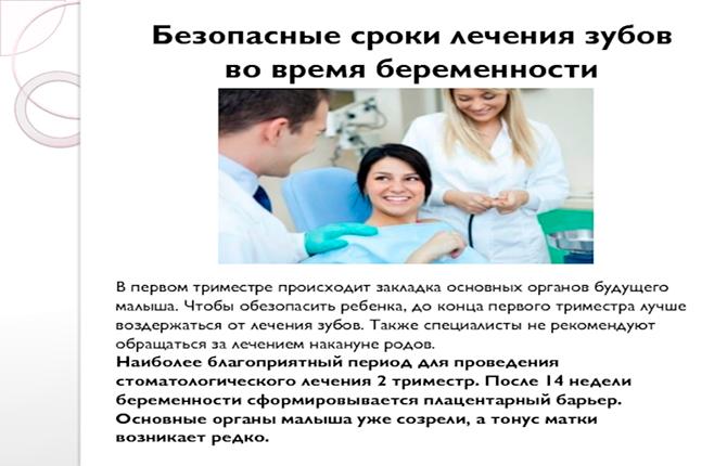 Безопасные сроки лечения зубов при беременности